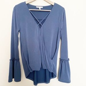 Moa Moa Lattice Front Bell Sleeve Top Blouse Blue